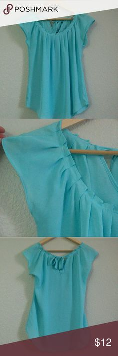 """Pleated Blouse - M This blouse is in very good condition, it has a cute scoop neck with pleating, and a """"V"""" in the back with a little tie. Super comfortable and cute! Tops Blouses"""