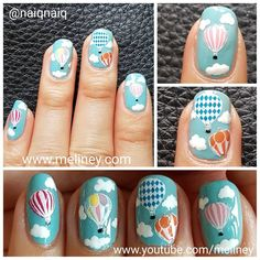 Hot air balloon nails. Checkout this week's video link in bio to see how to create this design. #hotairballoon nails #instanails #notd #melbournenails #meliney