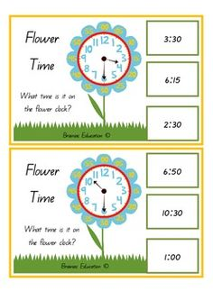 Students select a card and identify the time shown on the flower clock. Students can use the minute increments on the flower petals for prompts if needed. Once the time has been identified the student finds the digital representation on the side of the page and clips a peg onto it to show their choice.