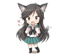'Anime cat girl chibi' Sticker by Xithyll Anime Chibi, Kawaii Anime, Gato Anime, Moe Anime, Kawaii Chibi, Cute Chibi, Kawaii Cute, Manga Anime, Manga Girl