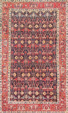 Antique Blue Persian Bidjar Carpet 47360 Main Image - By Nazmiyal