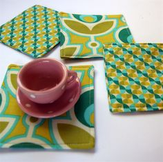 4 x Reversible Fabric Coasters - Blue & Green Bold Blooms in the hourglass - monkey & bee