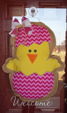 Easter Chick Burlap Door Hanger