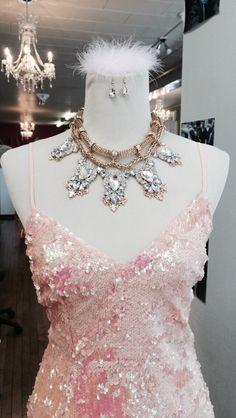 Authoritygirl sequin dress. Pink. Statement Necklace