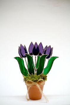 Purple Stained Glass Suncatcher Purple Tulips