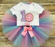 Baby Girls First Birthday Personalized Donut with Sprinkles Onesie and Tutu Outfit Set First Birthday Theme Girl, Girls Birthday Party Themes, Birthday Party Outfits, Birthday Ideas, Blue Birthday, Donut Birthday Parties, Donut Party, Halloween 1st Birthdays, First Birthdays