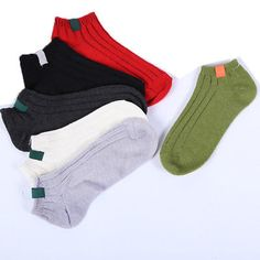 6 Pairs Women Winter Kniting Ankle Socks Low Cut Crew Casual Socks Solid Color