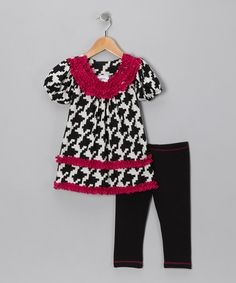 Take a look at this Black Houndstooth Tunic & Leggings - Toddler & Girls by Freckles + Kitty on #zulily today!