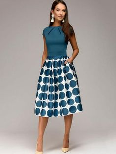 Ericdress Polka Dots Ball Gown Knee-Length A Line Dress|Pattern:Polka Dots,Color Block