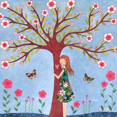 Fille avec papillons Illustration impression sur bois, peinture Folk Art, Art de filles de salle, pépinière lunatique