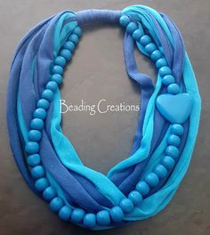 Buy WOODEN BEADED T-SHIRT FABRIC SCARF NECKLACE - TURQUOISE BLUE AND DARK BLUEfor R120.00
