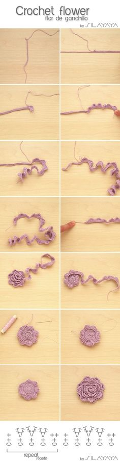 Tutorial How to crochet a flower - Tutorial Flor de ganchillo by SILAYAYA by LavenderM