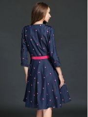 European Ladies Fashion Heart Embroidery V-Neck Slim Expansion Bottom Denim Three Quarter Sleeve Dress