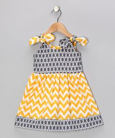 Take a look at this Gray & Yellow Zigzag Dress - Infant, Toddler & Girls by Bellinni by Bebe Bella Designs on #zulily today!