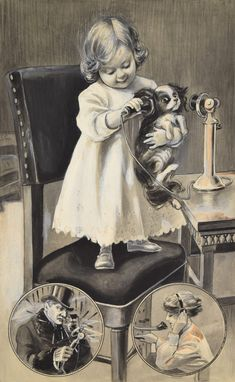 1920s Whimsical Painting Girl w Japanese Chin Dog Telephone