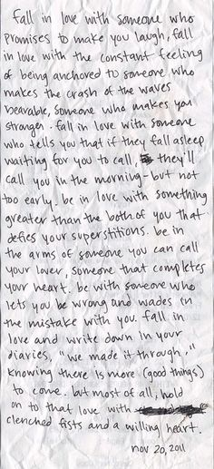 Fall in love with someone who...