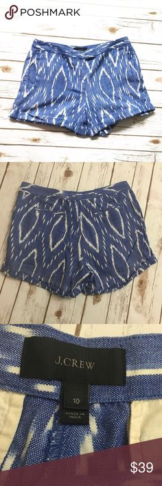 "J. CREW Blue white Ikat sunfaded Shorts cuffed Gently worn. Blue and white Ikat print shorts with cuffed bottom. Size 10. 100% cotton. Waist 16"". Inseam 4"" J. Crew Shorts"