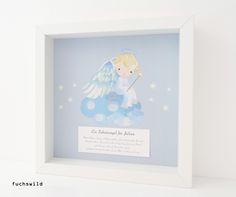 Taufgeschenke, Babygeschenke, Schutzengel Bild, Druck Engel auf Wolke blau 1