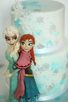 Frozen Anna & Elsa two tier cake