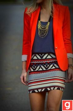 Colorful, trendy and super cute! I would love to wear this to work. I could imagine myself in a great peppy mood, and super ready for work.