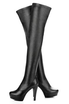 REGISTER ON PERSUNMALL.COM Thick Platform Leather Thigh High Boots