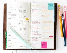Simple bullet journalling using a Midori Traveler's Notebook. Find out more by clicking on the following link: http://limedoodledesign.com/2014/10/stay-focused-blog-hop/