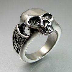 Heavy Metal Rings for Men | Heavy Duty Biker Mens Bold Black Silver Stainless Steel Skull Ring ...