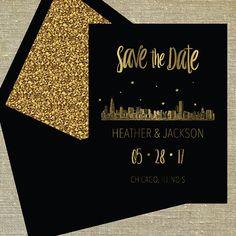 "Chicago Illinois ""Lovetown"" Save the Date gold foil on black card stock LETTERPRESS DEPOSIT LISTING"