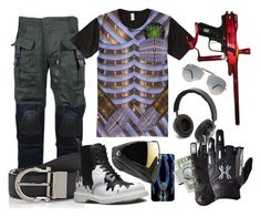 """""""Paintball Futuristic Warrior Chainmail Armor"""" by cricketdiane on Polyvore featuring B&O Play, Ray-Ban, Salvatore Ferragamo, Dr. Martens, American Coin Treasures, men's fashion and menswear"""