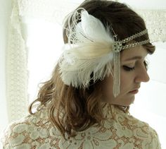 jeanette - 1920's headband, bridal headband of vintage silver trim and antique beaded fringe with ivory and champagne feathers-made to order by owllamode on Etsy https://www.etsy.com/listing/127929316/jeanette-1920s-headband-bridal-headband