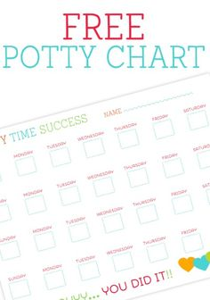 "Free Potty Charts Printable - Motivate your toddler to use the ""big boy"" or ""big girl"" potty with this cute potty chart. Mark off their achievements with special stickers or markers then reward them (i.e. sweet treat, toy, fun activity) for a job well done."