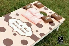 Corn hole boards for an outdoor reception