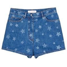 Valentino Star print denim shorts (17 800 ZAR) ❤ liked on Polyvore featuring shorts, bottoms, blue, blue cotton shorts, patterned shorts, star shorts, blue shorts and blue jean shorts