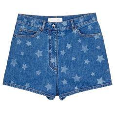 Valentino Star print denim shorts ($1,220) ❤ liked on Polyvore featuring shorts, blue, blue jean short shorts, jean shorts, blue shorts, blue star shorts and patterned shorts