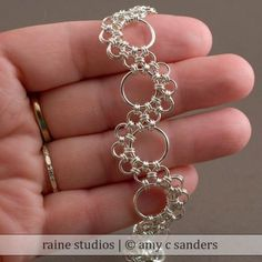 Shenandoah Chainmaille Bracelet Handmade Sterling Silver 925 chain maille mail chainmail by rainestudios Bracelet Fil, Chainmaille Bracelet, Button Bracelet, Stone Bracelet, Wire Wrapped Jewelry, Metal Jewelry, Beaded Jewelry, Silver Jewelry, Silver Ring