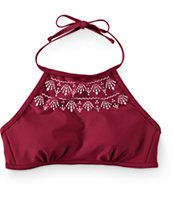 Malibu Burgundy Laser Cut High Neck Bikini Top