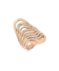 Take a look at this Diamond & Rose Gold Wave Ring by HMY Jewelry on #zulily today!