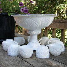 Mckee pedestal punch bowl and cups