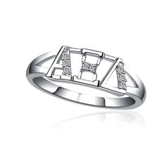 Alpha Xi Delta Horizontal Silver Ring [AXD-R001] - $35.00 : Greek Star