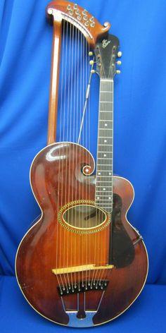 Vintage 1915 Gibson Style U Mandolin Harp Guitar with Original HSC
