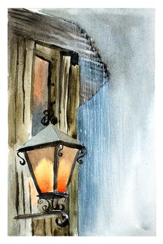 Outdoor lantern-rain painting print light watercolor print-romantic landscap, lighthouse painting rainy day art watercolor rain illustration by artolgashef. Explore more products on http://artolgashef.etsy.com