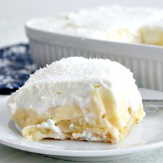 Dreamy Coconut and Pineapple Dessert. Layers of creamy smooth homemade coconut pudding layered between chunks of pineapple on a bed of pineapple infused lady's fingers and then covered with a wonderful dreamy whipped cream topping. Options to make adult too by adding a splash of malibu! This really is amazing!   Lovefoodies.com