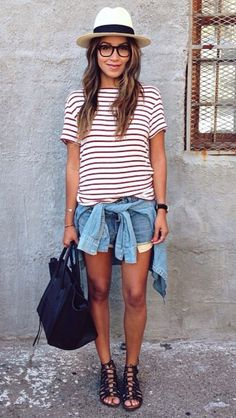 Casual. Striped tee, denim, and accessories