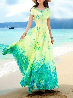 Charming  Round Neck Chiffon Floral Printed Maxi-dress Maxi Dresses from fashionmia.com