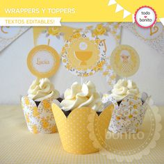 Shabby Chic amarillo: wrappers y toppers - Todo Bonito Porta Cupcake, Ideas Para Fiestas, Cupcake Wrappers, First Communion, Mini Cakes, Decoration, Shabby Chic, Origami, Birthdays