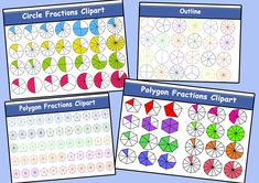 Circle and Polygons Fractions Clipart Fractions, Pink Minnie, Clipart Images, Outline, Clip Art, Letters, Maths, Pictures, Photos