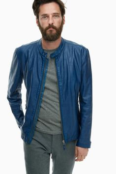 Eco-Leather Blue Jacket - urban hunter | Adolfo Dominguez shop online