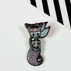 Spooky Mermaid Enamel Pin...cute skully mermaid from Punky Pins