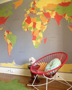 playroom, kids room, world map, wall map, bright colored