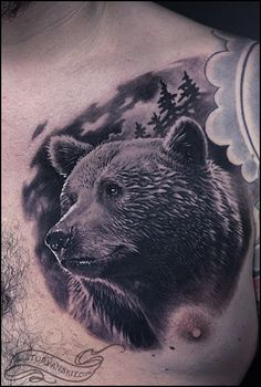 Realistic Chest Bear Tattoo by Oleg Turyanskiy
